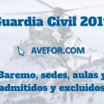 Baremo, sedes, aulas y admitidos y excluidos para el Ingreso a Guardia Civil 2019